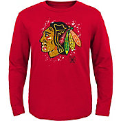 NHL Youth Chicago Blackhawks Deconstructed Red Long Sleeve Shirt