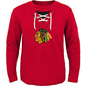 NHL Toddler Chicago Blackhawks Mock Jersey Red Long Sleeve Shirt
