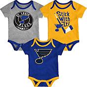 NHL Infant St. Louis Blues Cuddle Play 3-Piece Onesie Set