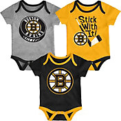 NHL Infant Boston Bruins Cuddle Play 3-Piece Onesie Set