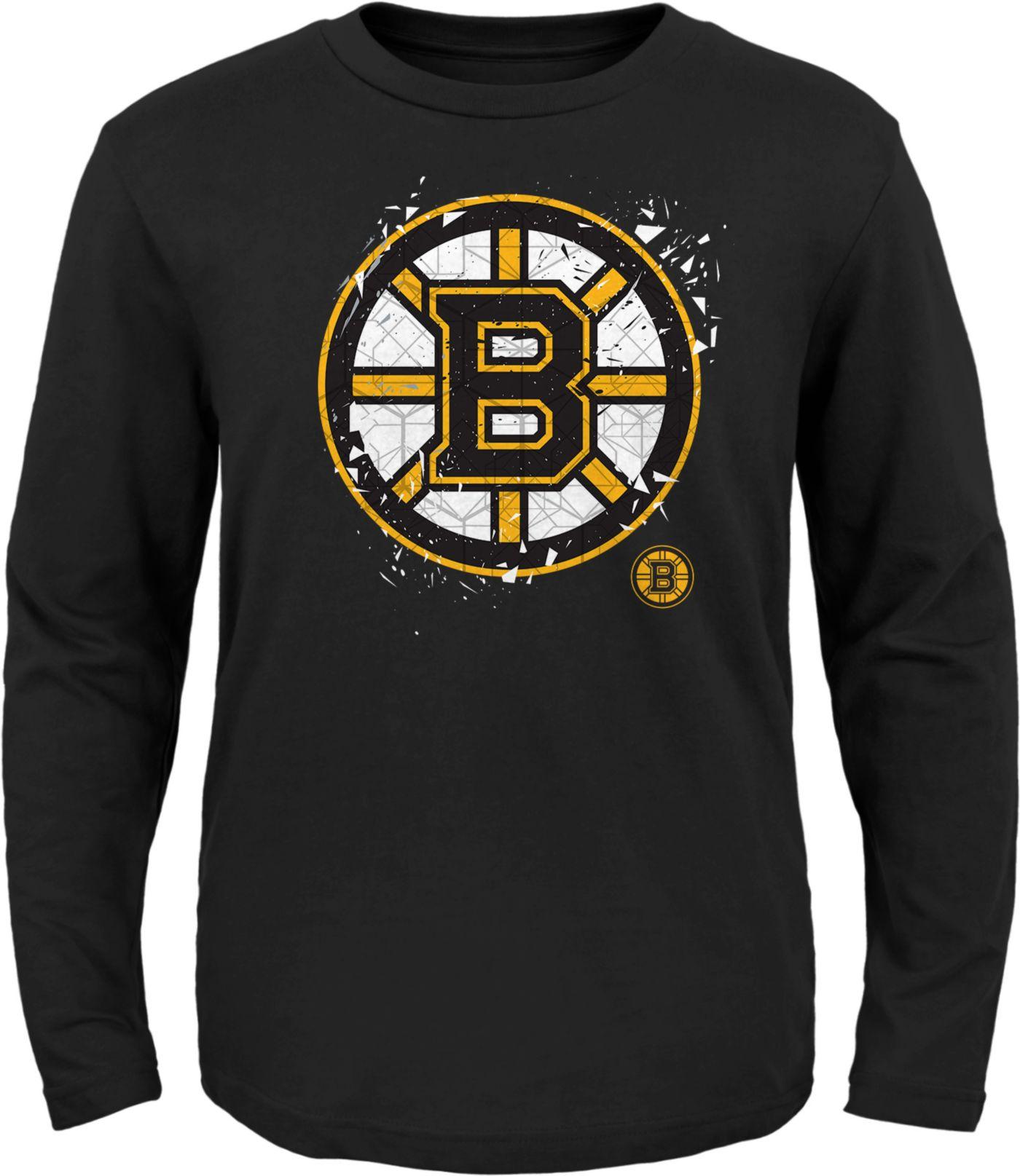 NHL Youth Boston Bruins Deconstructed Black Long Sleeve Shirt