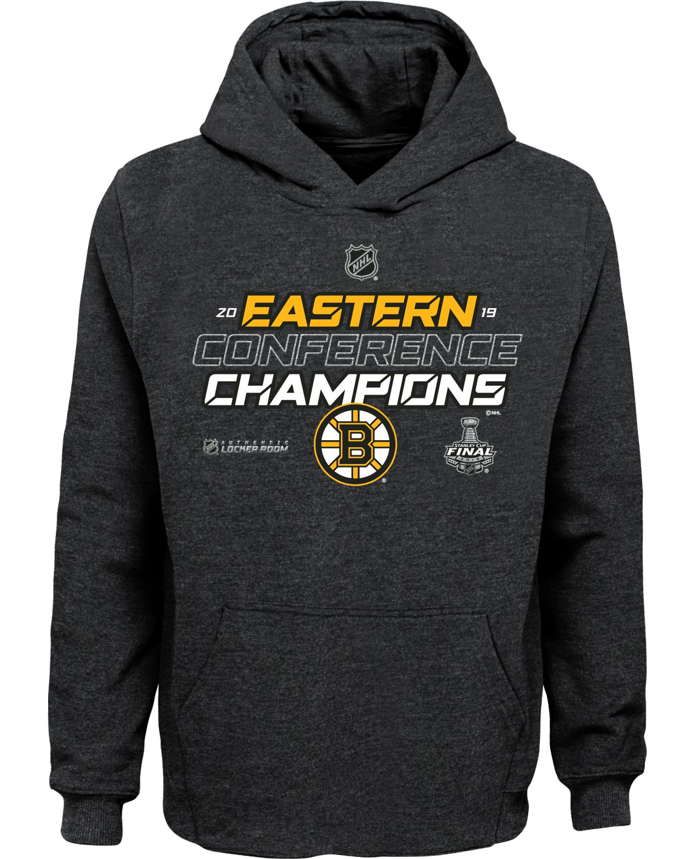 NHL Youth 2019 NHL Eastern Conference Champions Boston Bruins Locker Room Pullover Hoodie