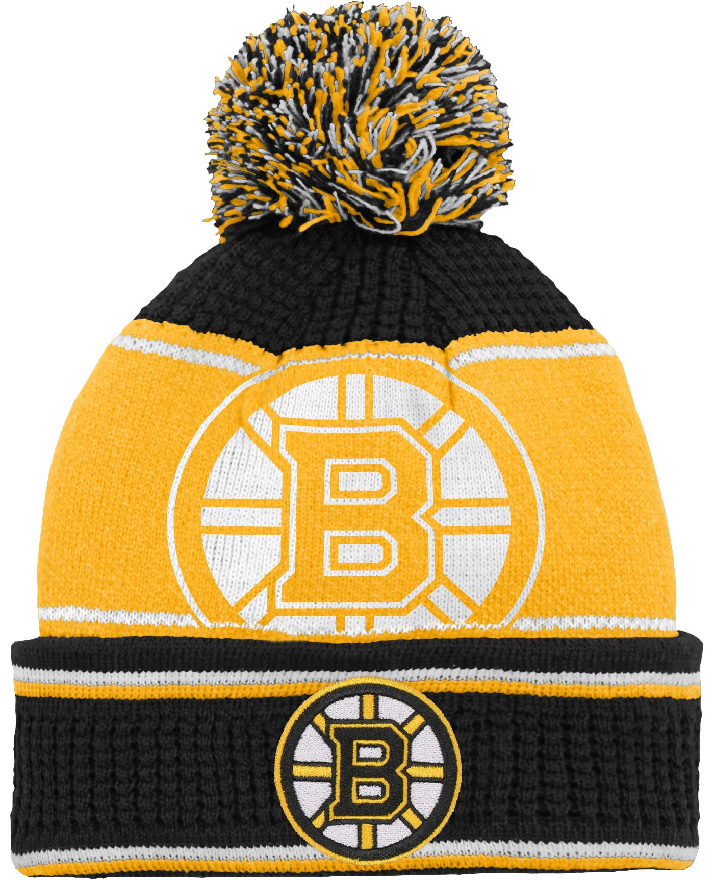 NHL Youth Boston Bruins Grind Cuff Pom Knit Beanie