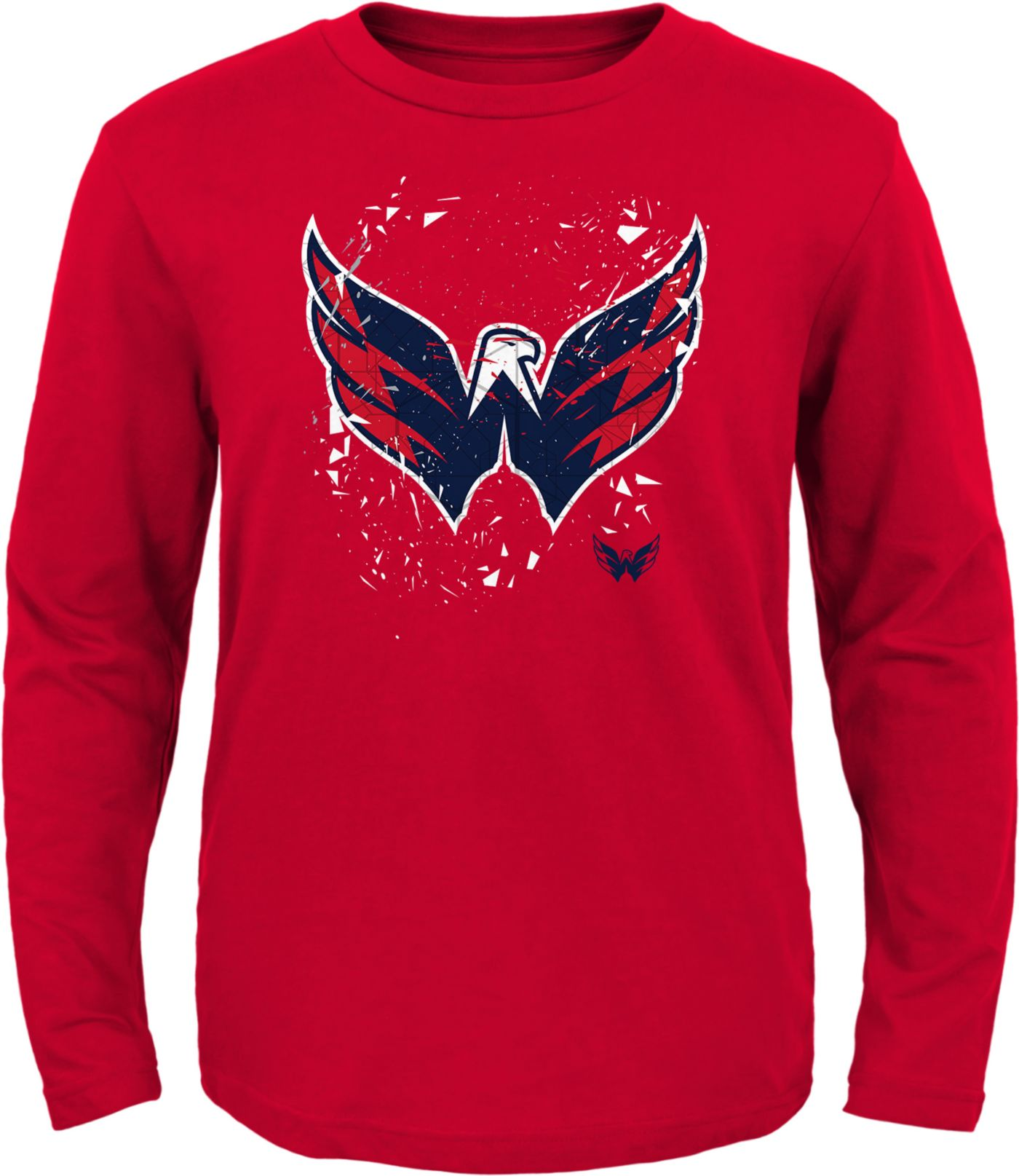 NHL Youth Washington Capitals Deconstructed Red Long Sleeve Shirt