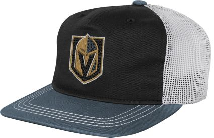size 40 655fb 52233 NHL Youth Vegas Golden Knights Striped Trucker Adjustable Hat