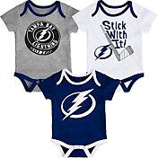 NHL Infant Tampa Bay Lightning Cuddle Play 3-Piece Onesie Set