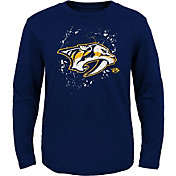 NHL Youth Nashville Predators Deconstructed Navy Long Sleeve Shirt