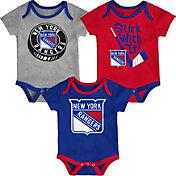 NHL Infant New York Rangers Cuddle Play 3-Piece Onesie Set