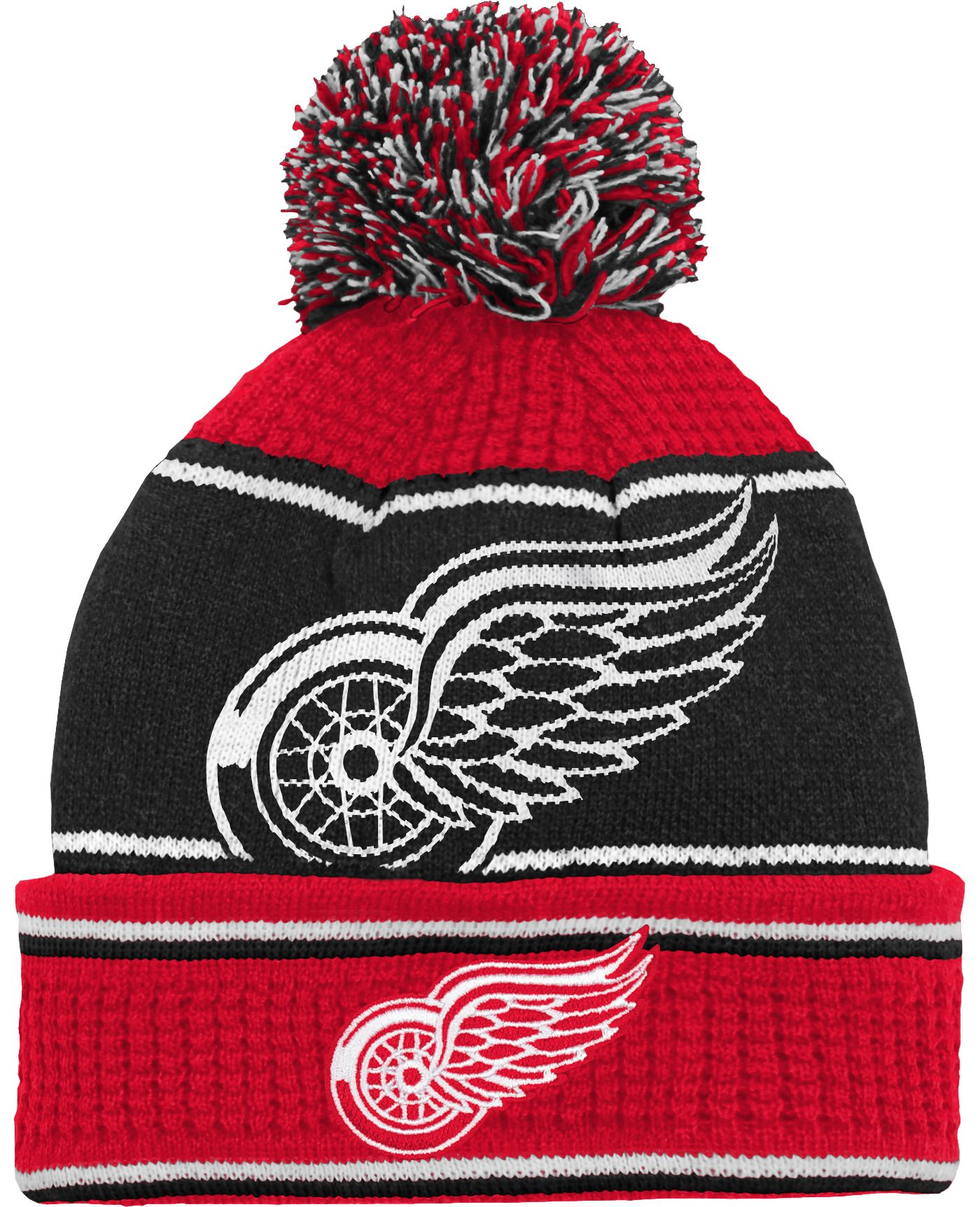 NHL Youth Detroit Red Wings Grind Cuff Pom Knit Beanie