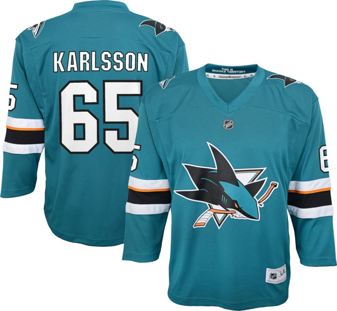 quality design 26471 b3ea3 NHL Youth San Jose Sharks Erik Karlsson #65 Replica Home Jersey