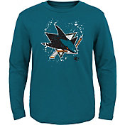 NHL Youth San Jose Sharks Deconstructed Teal Long Sleeve Shirt