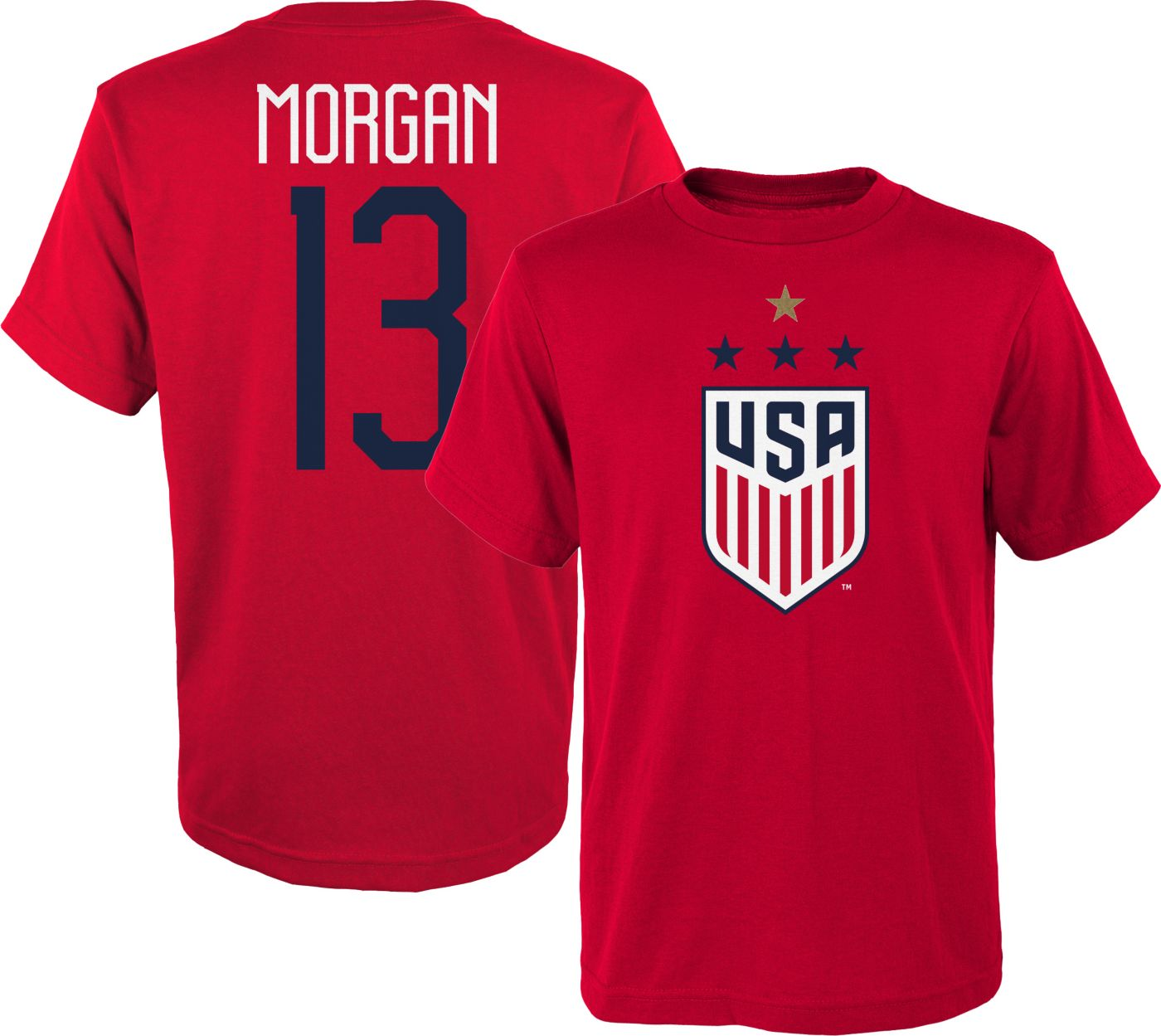 Outerstuff Youth USA Soccer Alex Morgan #13 4-Star Player Red T-Shirt