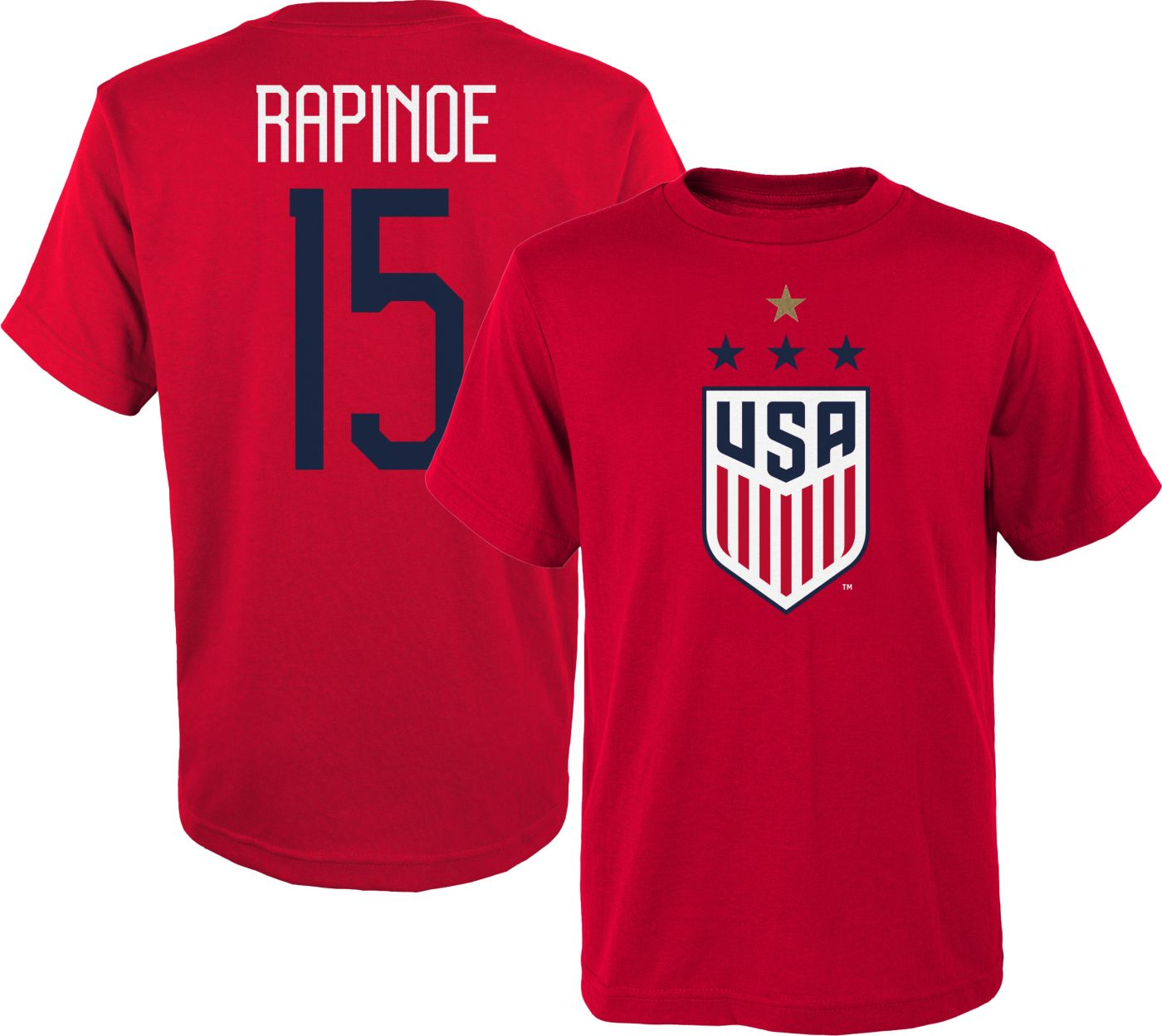 Outerstuff Youth USA Soccer Megan Rapinoe #15 4-Star Player Red T-Shirt