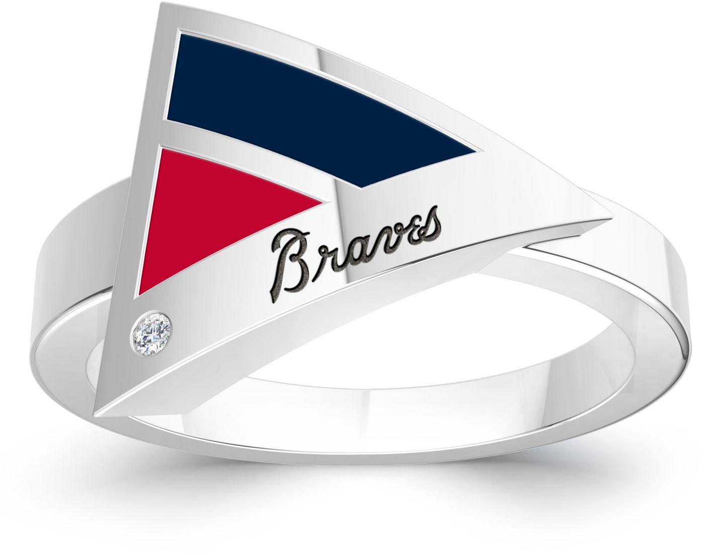 Bixler Atlanta Braves Diamond Engraved Geometric Ring
