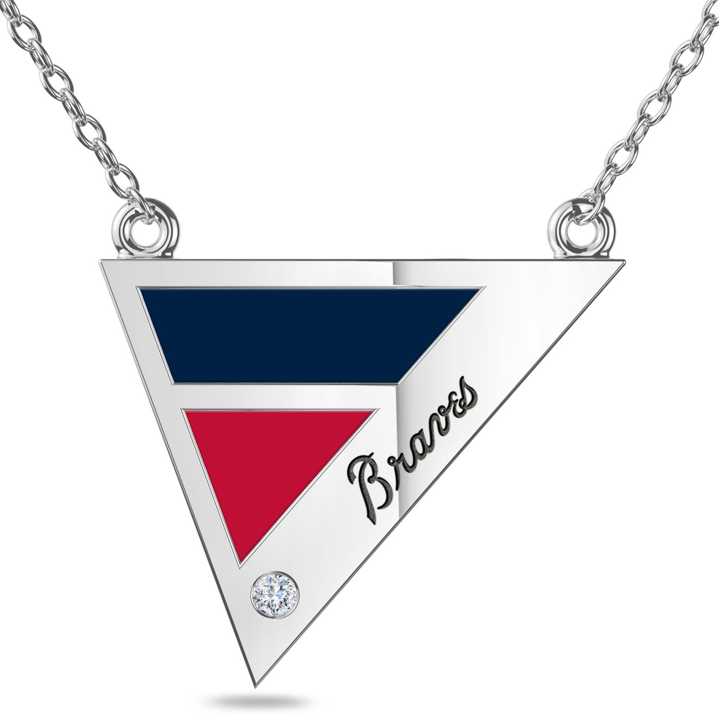 Bixler Atlanta Braves Diamond Engraved Geometric Necklace