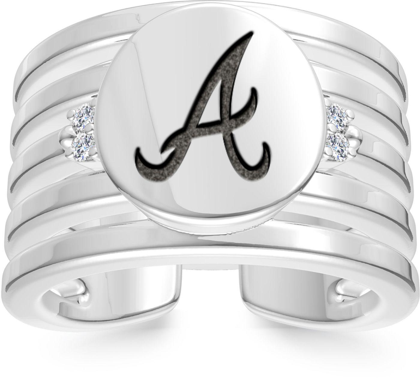Bixler Atlanta Braves Logo Engraved Multi-band Cuff Ring