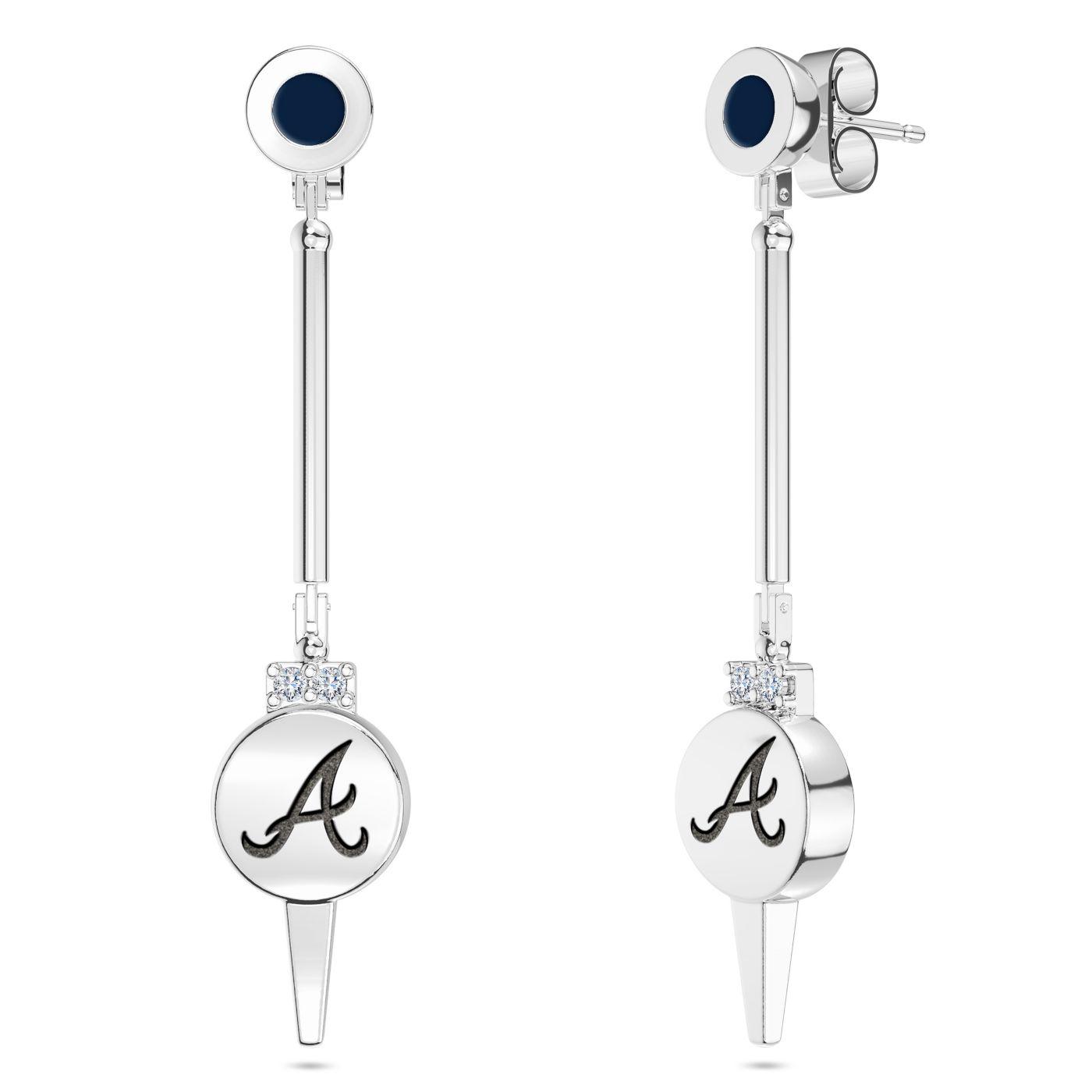 Bixler Atlanta Braves Diamond Engraved Geometric Earrings