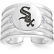 Bixler Chicago White Sox Logo Engraved Multi-band Cuff Ring
