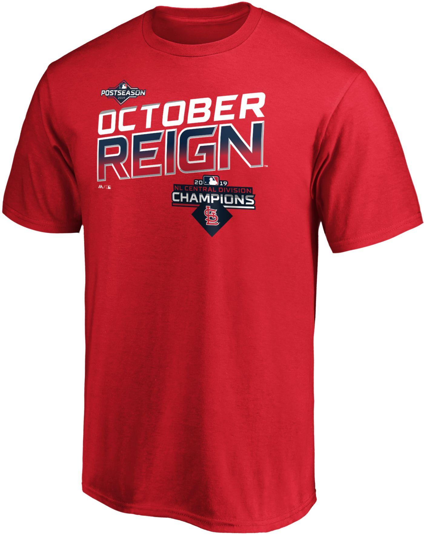 "Majestic Men's St. Louis Cardinals 2019 NL Central Division Champions ""October Reign"" T-Shirt"