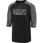 Fanatics Men's Miami Marlins Black Marble Three-Quarter Sleeve Shirt