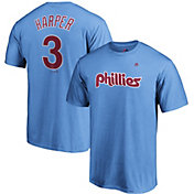 Majestic Men's Philadelphia Phillies Bryce Harper #3 Light Blue T-Shirt