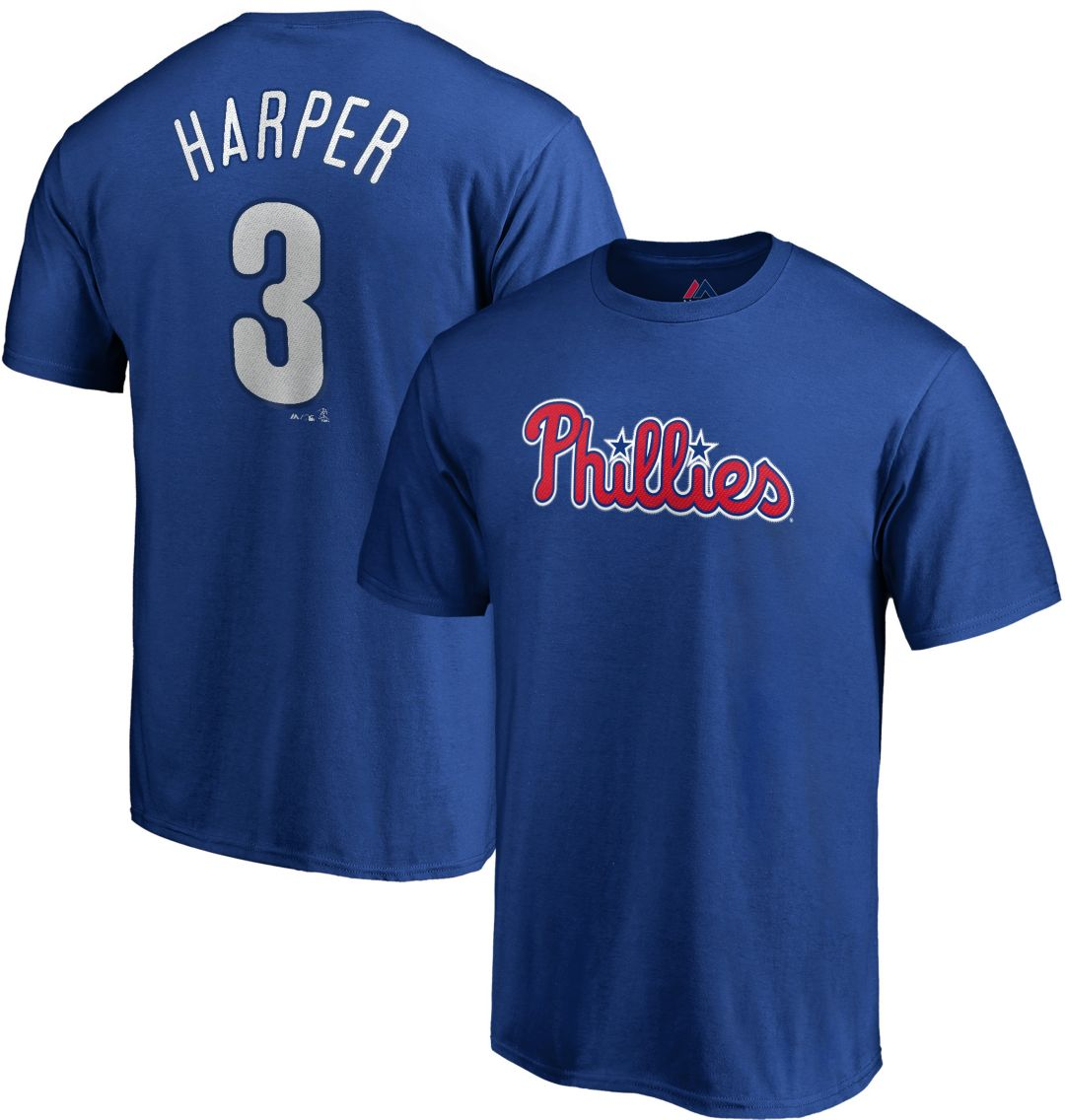 online retailer f975e ad5e7 Majestic Men's Philadelphia Phillies Bryce Harper #3 Royal T-Shirt