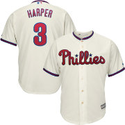 Majestic Men's Replica Philadelphia Phillies Bryce Harper #3 Cool Base Alternate Ivory Jersey