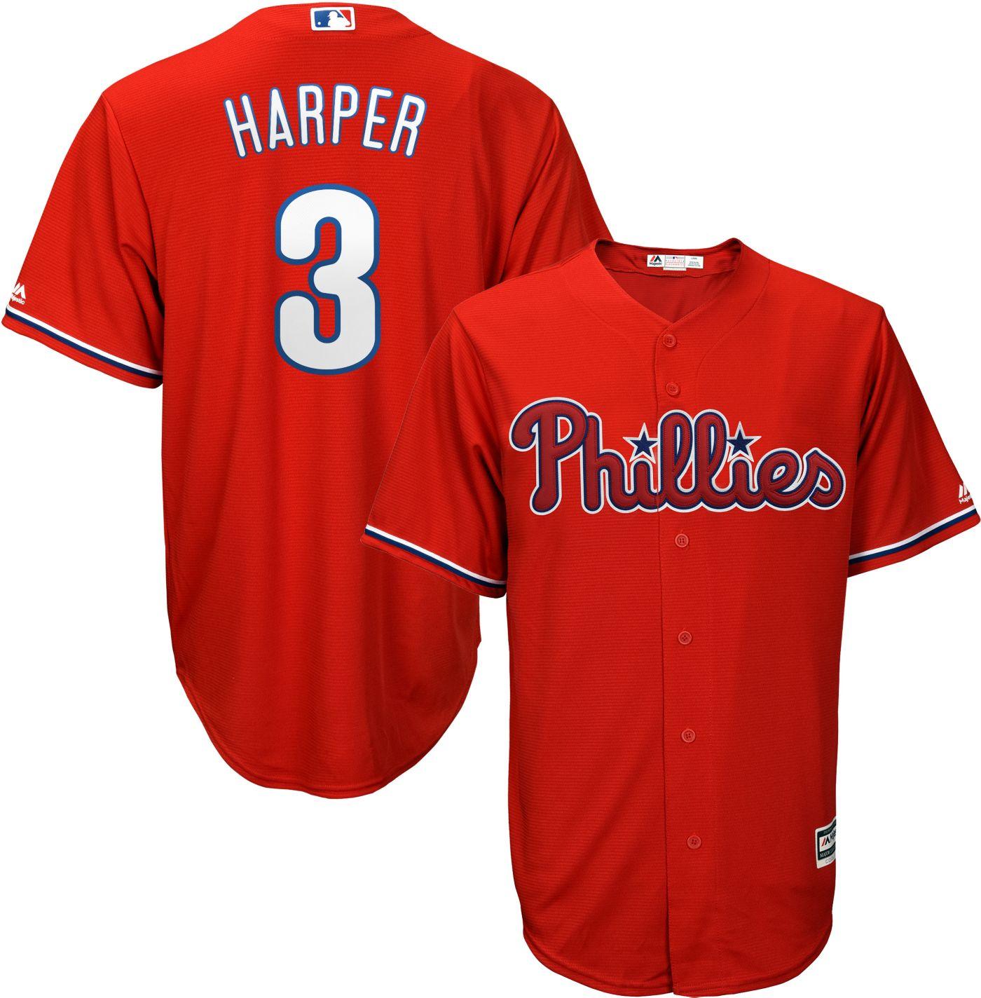 Majestic Men's Replica Philadelphia Phillies Bryce Harper #3 Cool Base Alternate Red Jersey