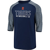 Fanatics Men's Detroit Tigers Navy Marble Three-Quarter Sleeve Shirt