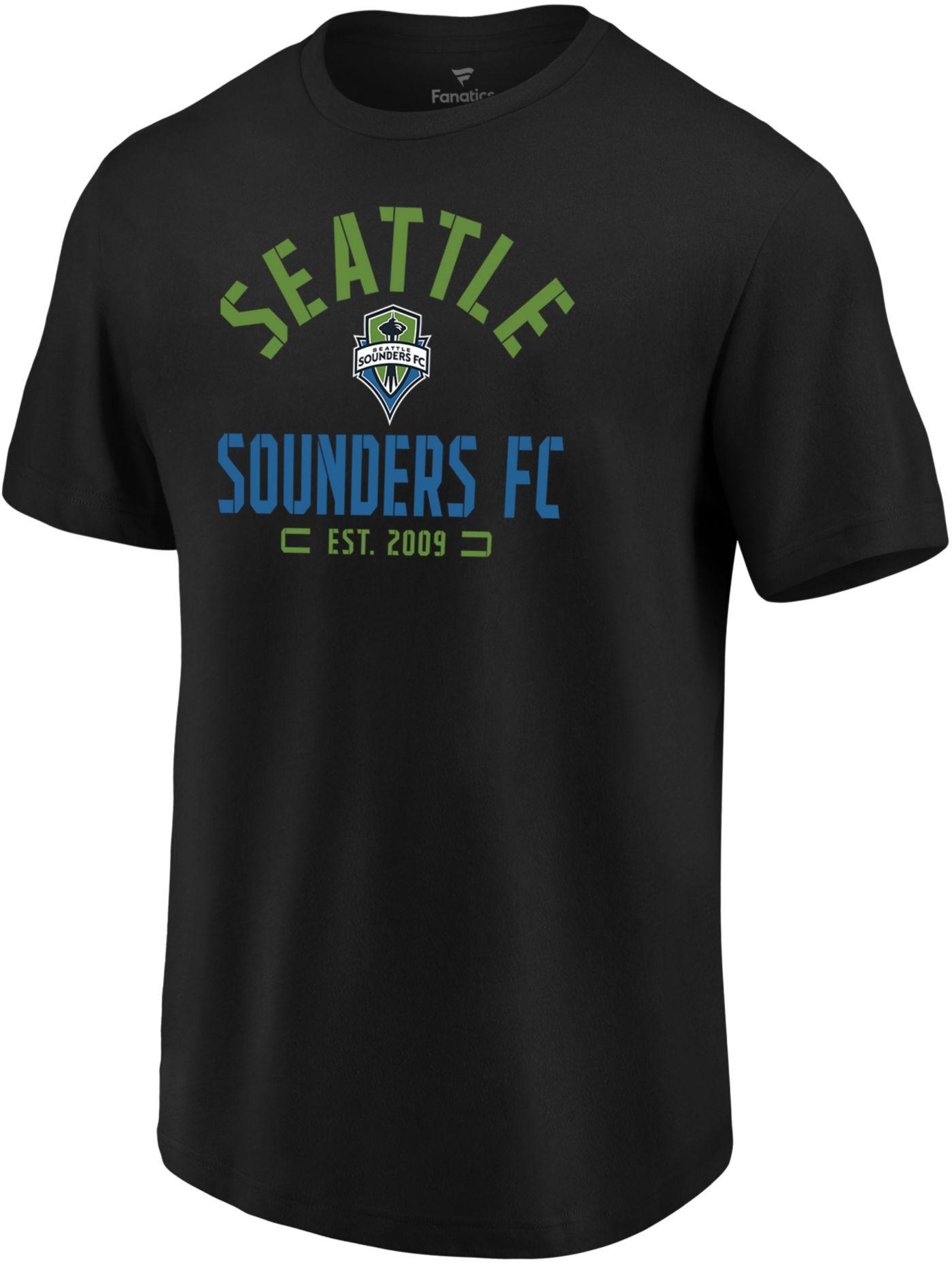 MLS Men's Seattle Sounders Battle Arc Black T-Shirt