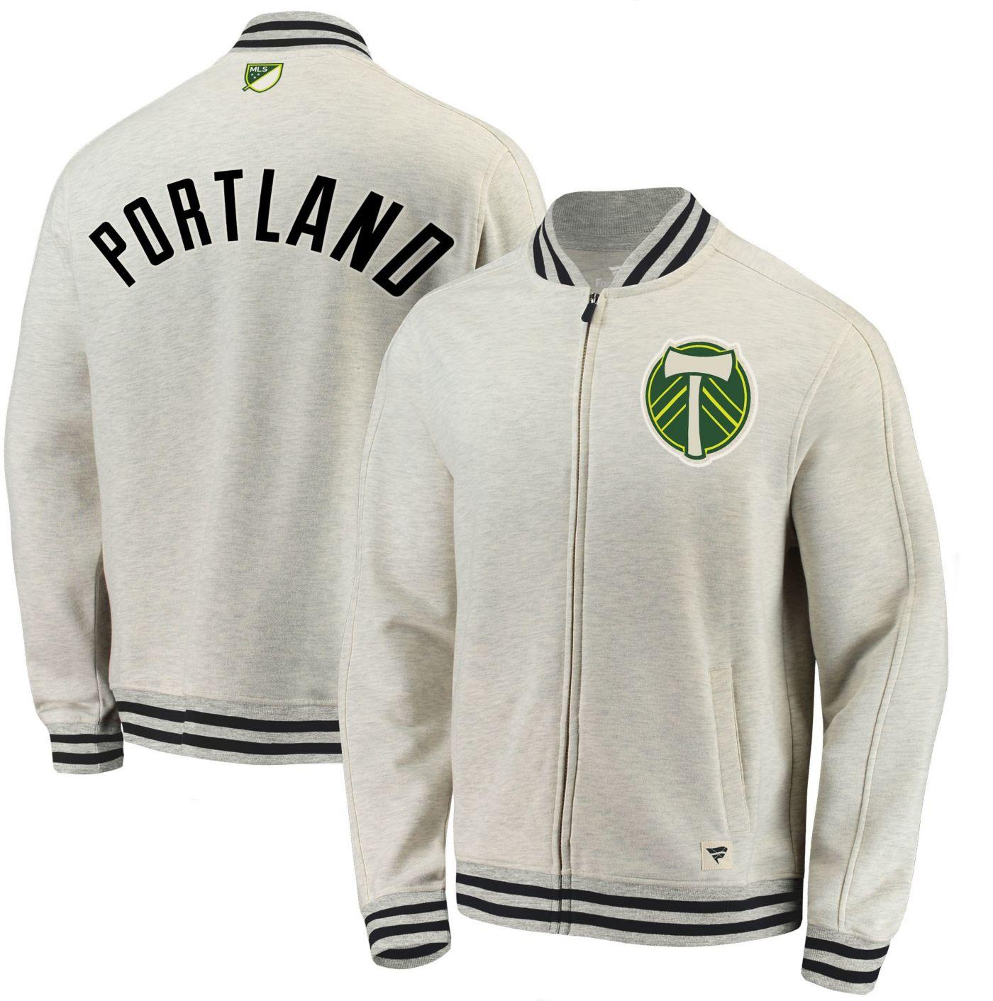 MLS Men's Portland Timbers Cross White Full-Zip Jacket