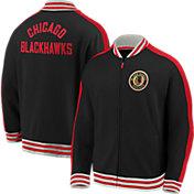 NHL Men's Chicago Blackhawks Varsity Black Full-Zip Track Jacket