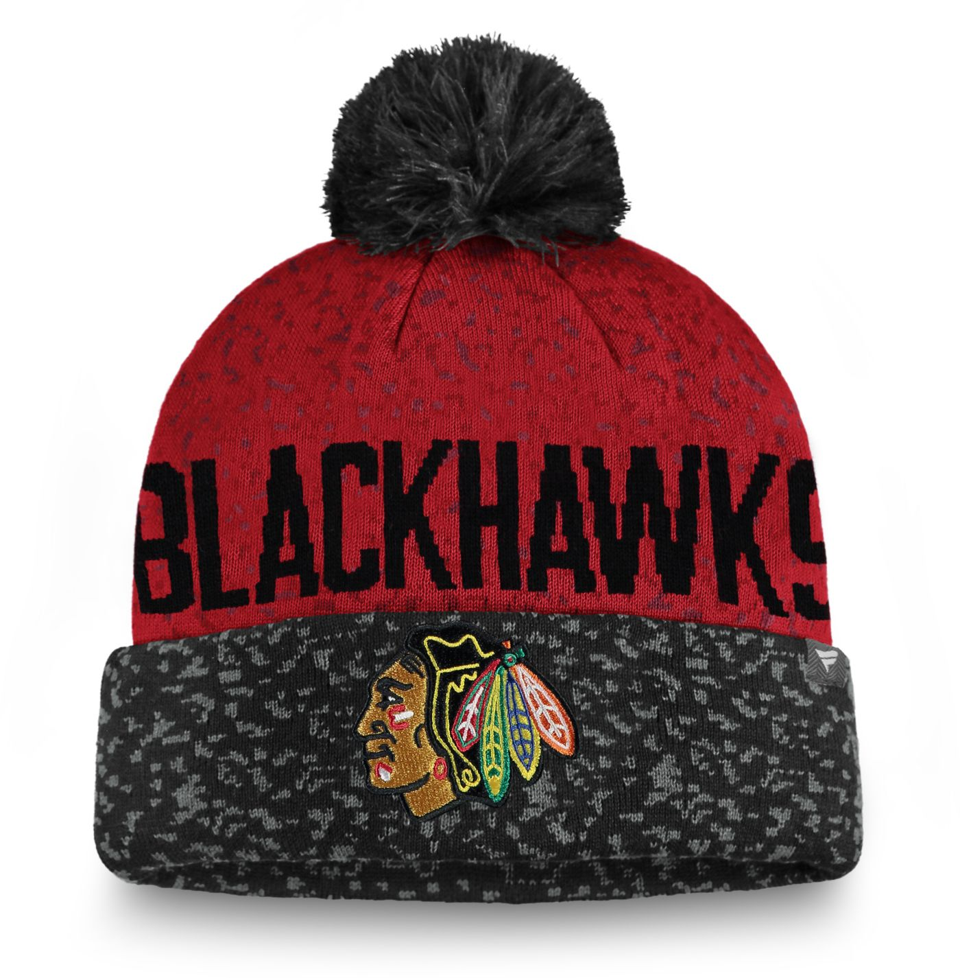 NHL Men's Chicago Blackhawks Fan Weave Pom Knit Beanie
