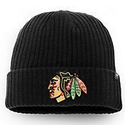 NHL Men's Chicago Blackhawks Logo Black Knit Beanie
