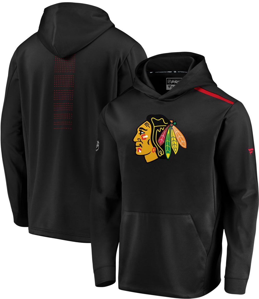 various colors b9e4a 0912b NHL Men's Chicago Blackhawks Authentic Pro Rinkside Fleece Black Pullover  Hoodie