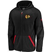 NHL Men's Chicago Blackhawks Authentic Pro Rinkside Gridback Black Full-Zip Hoodie