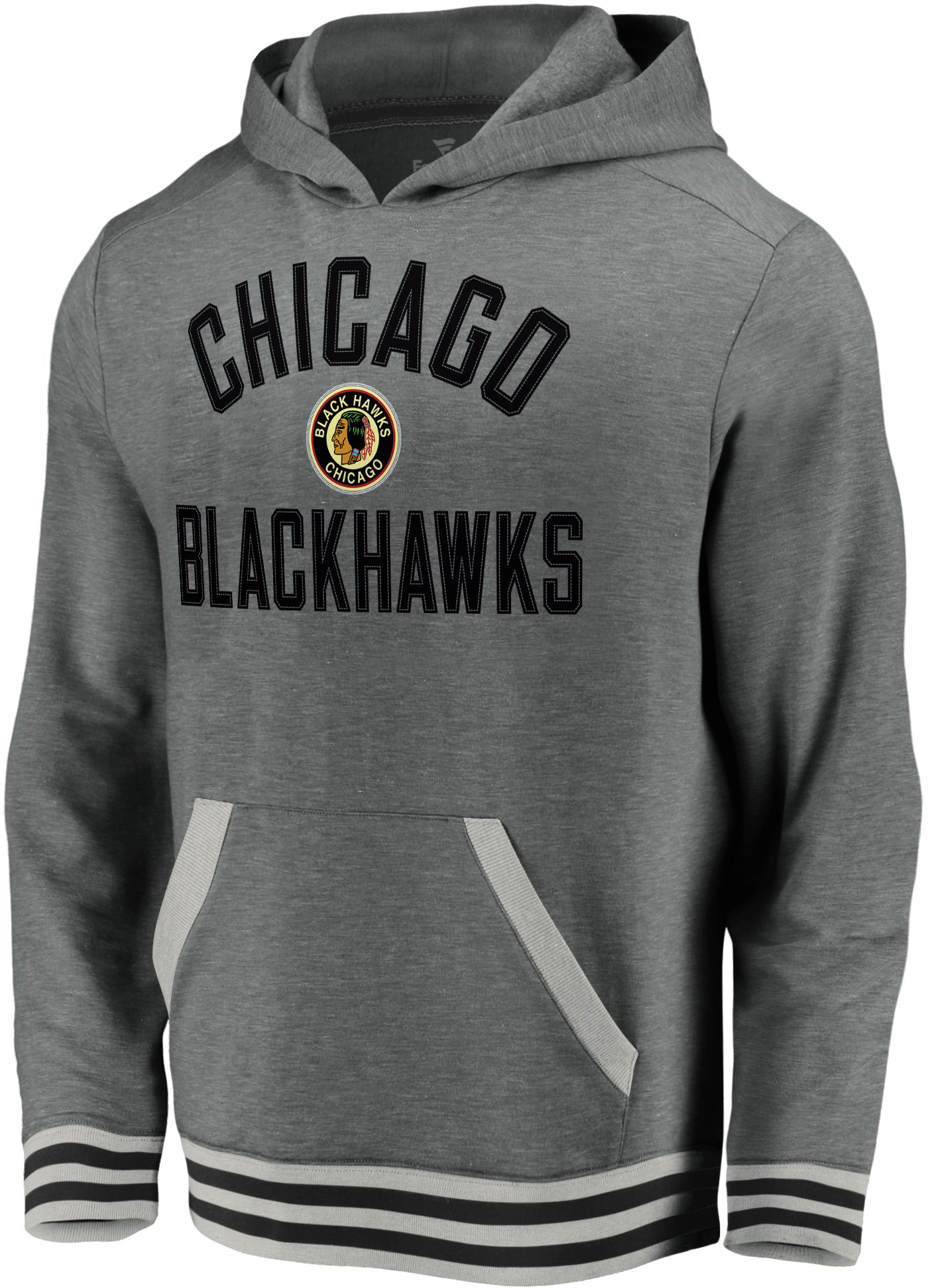 NHL Men's Chicago Blackhawks Upper Class Heather Grey Pullover Hoodie