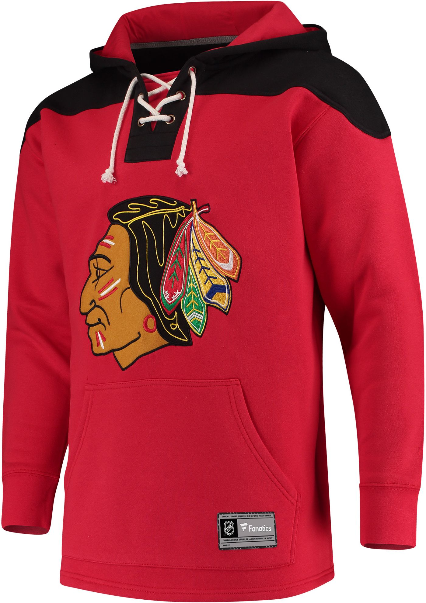 NHL Men's Chicago Blackhawks Lace Up Red Pullover Hoodie