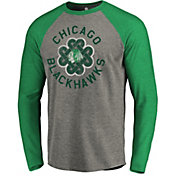 NHL Men's 2019 St. Patrick's Day Chicago Blackhawks Luck Green Long Sleeve Shirt