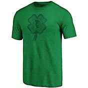 NHL Men's St. Patrick's Day Chicago Blackhawks Logo Green Heathered Tri-Blend T-Shirt