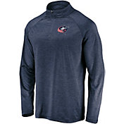 NHL Men's Columbus Blue Jackets Logo Navy Heathered Quarter-Zip Pullover