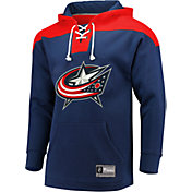 NHL Men's Columbus Blue Jackets Lace Up Navy Pullover Hoodie