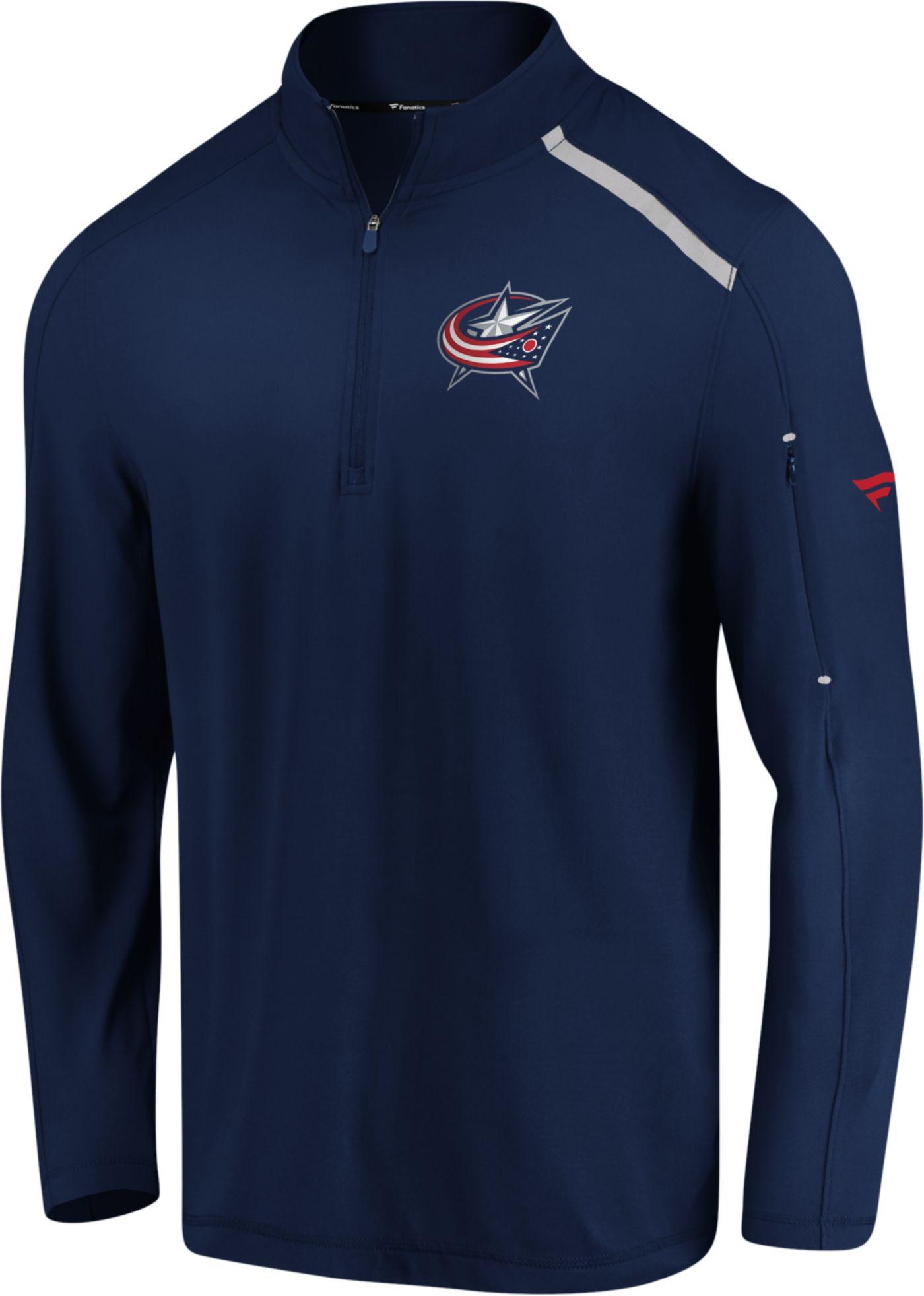 NHL Men's Columbus Blue Jackets Authentic Pro Clutch Navy Quarter-Zip Pullover