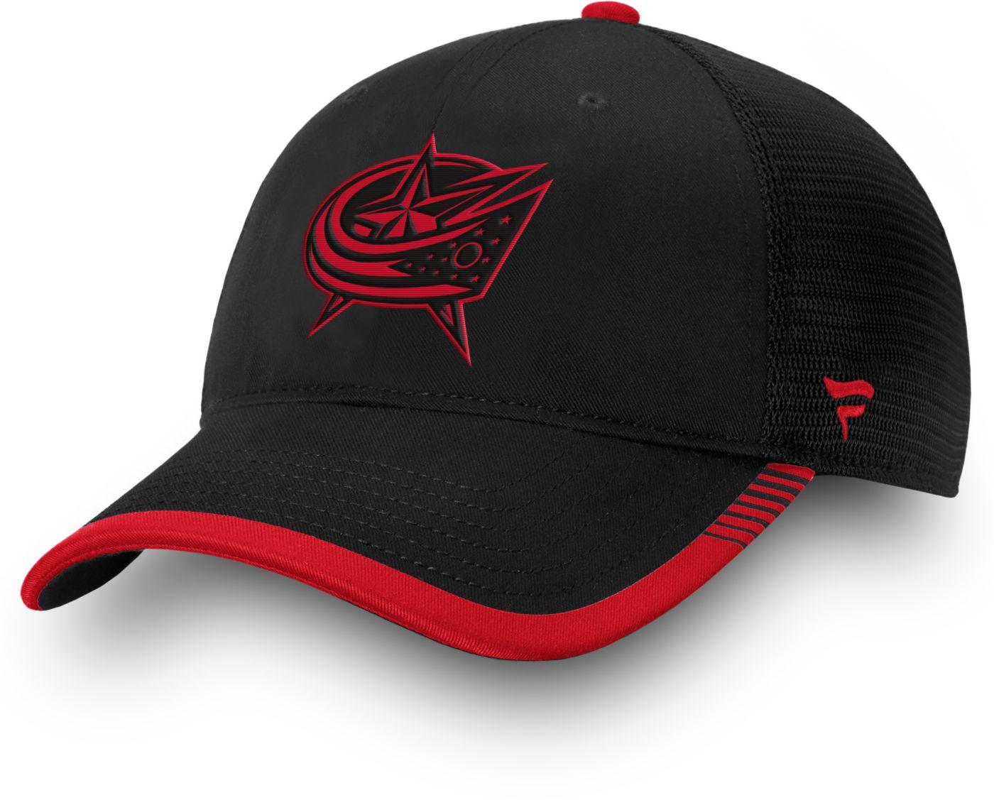 NHL Men's Columbus Blue Jackets Stripe Trucker Navy Snapback Adjustable Hat