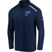NHL Men's St. Louis Blues Authentic Pro Clutch Navy Quarter-Zip Pullover