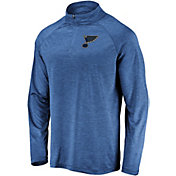 NHL Men's St. Louis Blues Logo Royal Heathered Quarter-Zip Pullover
