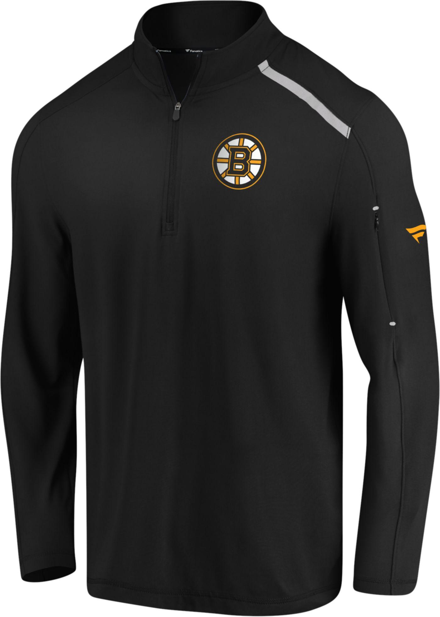 NHL Men's Boston Bruins Authentic Pro Clutch Black Quarter-Zip Pullover