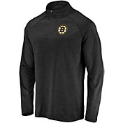 NHL Men's Boston Bruins Logo Black Heathered Quarter-Zip Pullover