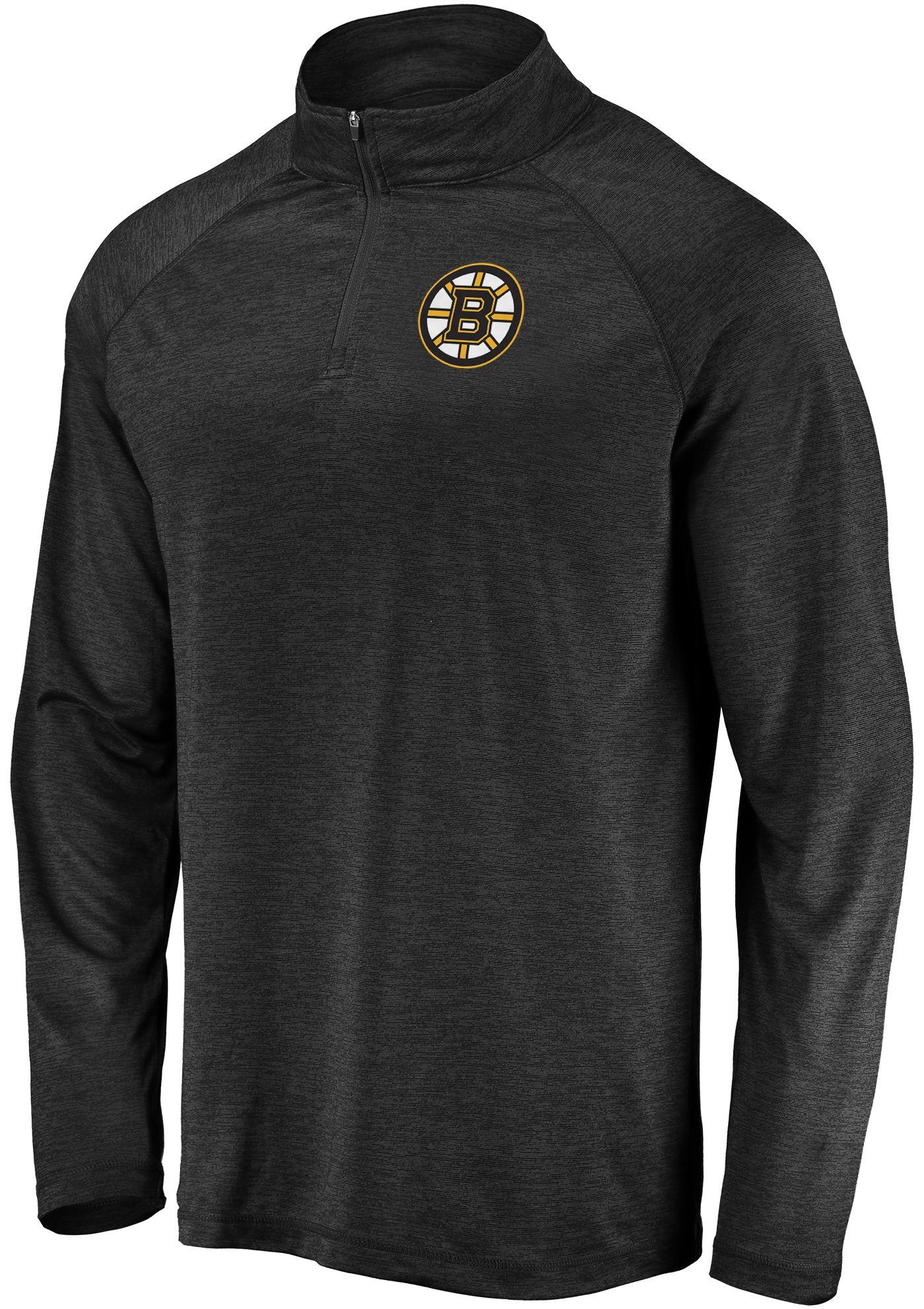 NHL Men's Boston Bruins Logo Black Heathered Quarter-Zip Pullover