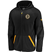 NHL Men's Boston Bruins Authentic Pro Rinkside Gridback Black Full-Zip Hoodie
